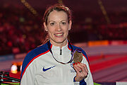 Eilidh Doyle of Great Britain with her bronze medal from the Women's 1500m at the IAAF World Indoor Championships day three at the National Indoor Arena, Birmingham, United Kingdom on 3 March 2018. Photo by Martin Cole.