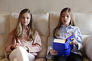 042320 Crown Princess Leonor and Princess Sofia reading 'El Quijote'