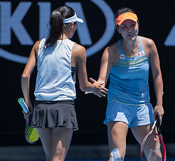 MELBOURNE, Jan. 24, 2018  Peng Shuai (R) of China and Hsieh Su-Wei of Chinese Taipei celebrate during the women's doubles semifinal against Timea Babos of Hungary and Kristina Mladenovic of France at Australian Open 2018 in Melbourne, Australia, Jan. 24, 2018. Timea Babos and Kristina Mladenovic won 2-0 to enter the final. (Credit Image: © Zhu Hongye/Xinhua via ZUMA Wire)