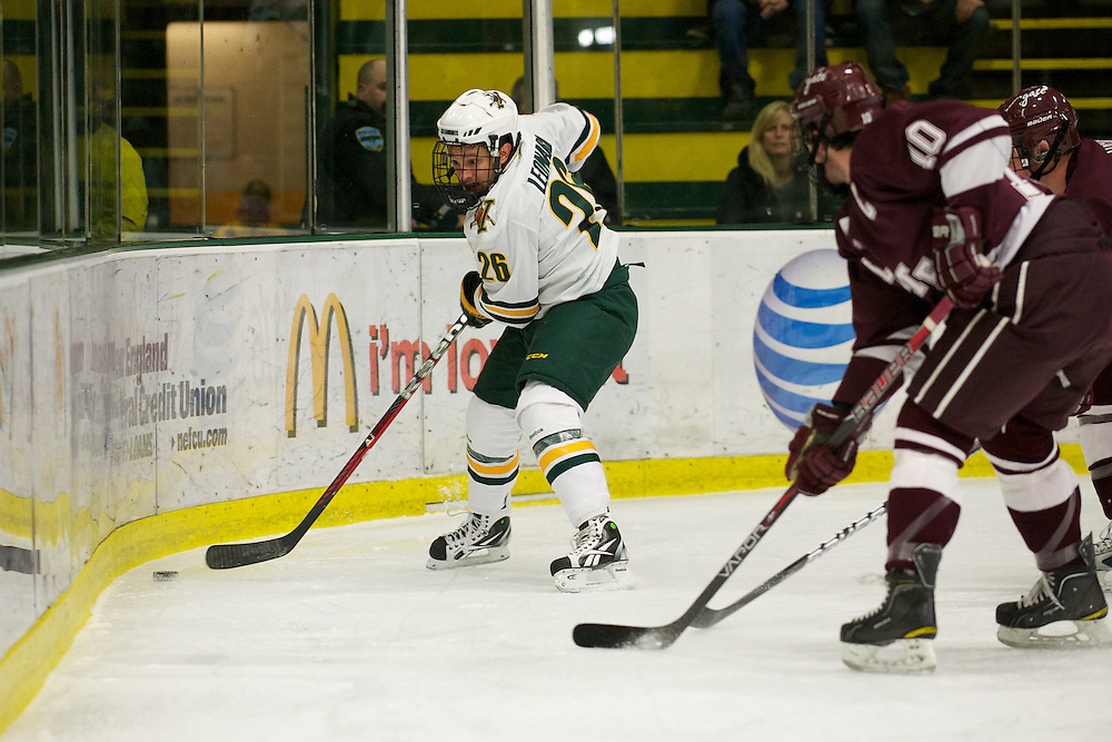 The mens hockey game between the Colgate Raiders and the Vermont Catamounts at Gutterson Fieldhouse on Friday night November 25, 2011 in Burlington, Vermont.