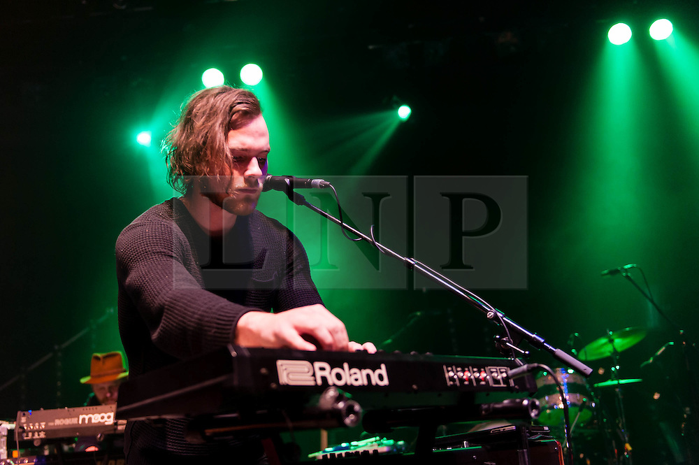 © Licensed to London News Pictures. 15/05/2013. London, UK.   Ásgeir Trausti performing live at Shepherds Bush Empire, supporting headliner John Grant.  Ásgeir Trausti  is an Icelandic solo singer whose music is described as melodic folk. He performs with his own band Ásgeir Trausti Band. He also plays guitar in the Icelandic band The Lovely Lion. Photo credit : Richard Isaac/LNP