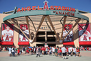 ANAHEIM, CA - AUGUST 29:  Fans enter the stadium for the Los Angeles Angels of Anaheim game against the Oakland Athletics at Angel Stadium on Saturday, August 30, 2014 in Anaheim, California. The Angels won the game in a 2-0 shutout. (Photo by Paul Spinelli/MLB Photos via Getty Images)