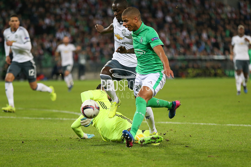 Saint-Etienne Forward Kevin Monnet-Paquet shoots at goal and beats Sergio Romero Goalkeeper of Manchester United during the Europa League match between Saint-Etienne and Manchester United at Stade Geoffroy Guichard, Saint-Etienne, France on 22 February 2017. Photo by Phil Duncan.