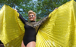 © Licensed to London News Pictures. <br /> 27/09/2014. <br /> <br /> Middlesbrough, United Kingdom<br /> <br /> Singer and entertainer Daisy Diamond poses for the camera at the start of a parade in the centre of Middlesbrough as part of a Pride event that brings together many members of the Lesbian, Gay, Bisexual and Transgender community from the area.<br /> <br /> Photo credit : Ian Forsyth/LNP
