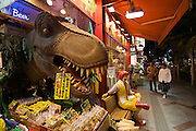 Kokusai-do?ri amusement and shopping street. T-Rex head and Ronald McDonald.