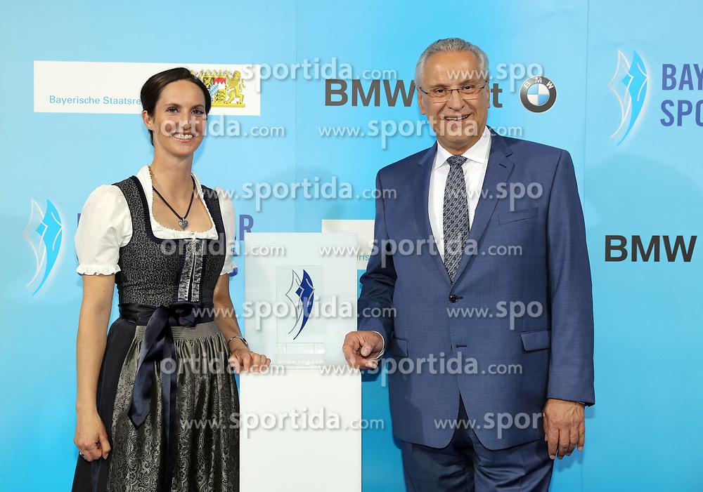 13.07.2019, BMW Welt, Muenchen, GER, Bayerischer Sportpreis Verleihung, im Bild Botschafterin des Bayerischen Sports Simone Blum mit Joachim Herrmann // during the Bavarian Sports Award at the BMW Welt in Muenchen, Germany on 2019/07/13. EXPA Pictures © 2019, PhotoCredit: EXPA/ SM<br /> <br /> *****ATTENTION - OUT of GER*****