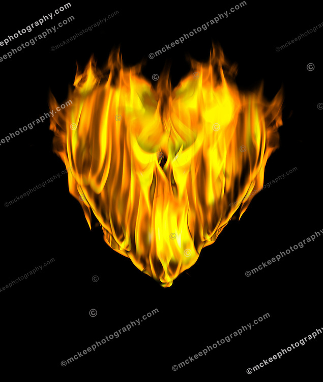 Flames shaped into a passionate heart