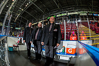 KELOWNA, CANADA - NOVEMBER 29: Ice officials stand in the penalty box on November 29, 2017 at Prospera Place in Kelowna, British Columbia, Canada.  (Photo by Marissa Baecker/Shoot the Breeze)  *** Local Caption ***