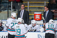 KELOWNA, CANADA - JANUARY 22: Kris Mallette and Brad Ralph, coaching staff of the Kelowna Rockets stand on the bench against the Tri City Americans  on January 22, 2016 at Prospera Place in Kelowna, British Columbia, Canada.  (Photo by Marissa Baecker/Shoot the Breeze)  *** Local Caption *** Brad Ralph; Kris Mallette;