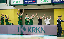Players and coaches of Petrol Olimpija celebrate during basketball match between KK Krka Novo mesto and  KK Petrol Olimpija in 4th Final game of Liga Nova KBM za prvaka 2017/18, on May 27, 2018 in Sports hall Leona Stuklja, Novo mesto, Slovenia. Photo by Vid Ponikvar / Sportida