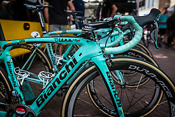 Bianchi Oltre XR4 bikes of Team LottoNL - Jumbo at the team buses during the Arnhem Veenendaal Classic at Arnhem, Gelderland, The Netherlands, 19 August 2016.<br /> Photo by Pim Nijland / PelotonPhotos.com | All Rights Reserved
