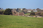 View over fields to main settlement, Island of Sark, Channel Islands, Great Britain
