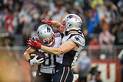 New England Patriots wide receiver Danny Amendola (80) and wide receiver Julian Edelman (11) celebrate a touchdown against the San Francisco 49ers at Levi's Stadium in Santa Clara, Calif., on November 20, 2016. (Stan Olszewski/Special to S.F. Examiner)