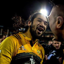 Michael Fatialofa celebrates after the Super Rugby final match between the Hurricanes and Lions at Westpac Stadium, Wellington, New Zealand on Saturday, 6 August 2016. Photo: Dave Lintott / lintottphoto.co.nz