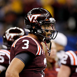 January 3, 2012; New Orleans, LA, USA; Virginia Tech Hokies quarterback Logan Thomas (3)  prior to kickoff of the Sugar Bowl against the Michigan Wolverines at the Mercedes-Benz Superdome.  Mandatory Credit: Derick E. Hingle-US PRESSWIRE