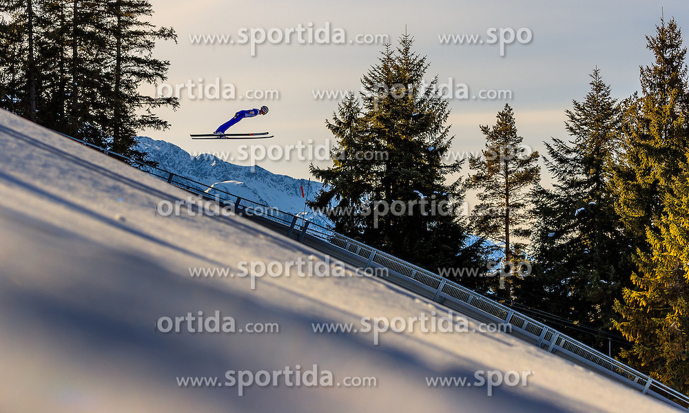 28.01.2017, Casino Arena, Seefeld, AUT, FIS Weltcup Nordische Kombination, Seefeld Triple, Skisprung, im Bild David Pommer (AUT) // David Pommer of Austria in action during his Trail Jump of Skijumping of the FIS Nordic Combined World Cup Seefeld Triple at the Casino Arena in Seefeld, Austria on 2017/01/28. EXPA Pictures © 2017, PhotoCredit: EXPA/ JFK