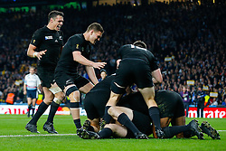 New Zealand Fly-Half Daniel Carter celebrates after New Zealand replacement Beauden Barrett scores a try towards the end of the match - Mandatory byline: Rogan Thomson/JMP - 07966 386802 - 31/10/2015 - RUGBY UNION - Twickenham Stadium - London, England - New Zealand v Australia - Rugby World Cup 2015 FINAL.