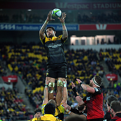 Vaea Fifita takes lineout ball during the Super Rugby match between the Hurricanes and Crusaders at Westpac Stadium in Wellington, New Zealand on Saturday, 15 July 2017. Photo: Dave Lintott / lintottphoto.co.nz