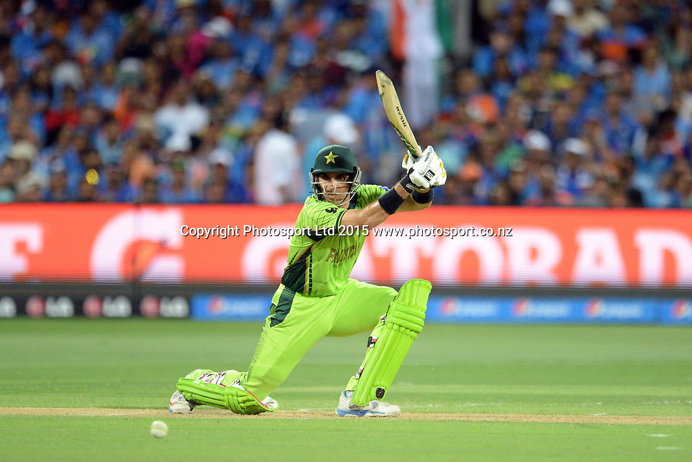 Pakistan captain Misbah-ul-Haq in action during the ICC Cricket World Cup match between India and Pakistan at Adelaide Oval in Adelaide, Australia. Sunday 15 February 2015. Copyright Photo: Raghavan Venugopal / www.photosport.co.nz