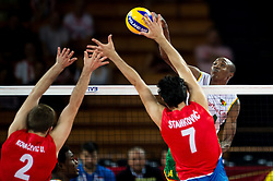 07.09.2014, Centennial Hall, Breslau, POL, FIVB WM, Serbien vs Kamerun, Gruppe A, im Bild Uros Kovacevic serbia #2 Dragan Stankovic serbia #7 Nathan Wounembaina cameroon #14 // Uros Kovacevic serbia #2 Dragan Stankovic serbia #7 Nathan Wounembaina cameroon #14 // during the FIVB Volleyball Men's World Championships Pool A Match beween Serbia and Cameroon at the Centennial Hall in Breslau, Poland on 2014/09/07. EXPA Pictures © 2014, PhotoCredit: EXPA/ Newspix/ Sebastian Borowski<br /> <br /> *****ATTENTION - for AUT, SLO, CRO, SRB, BIH, MAZ, TUR, SUI, SWE only*****