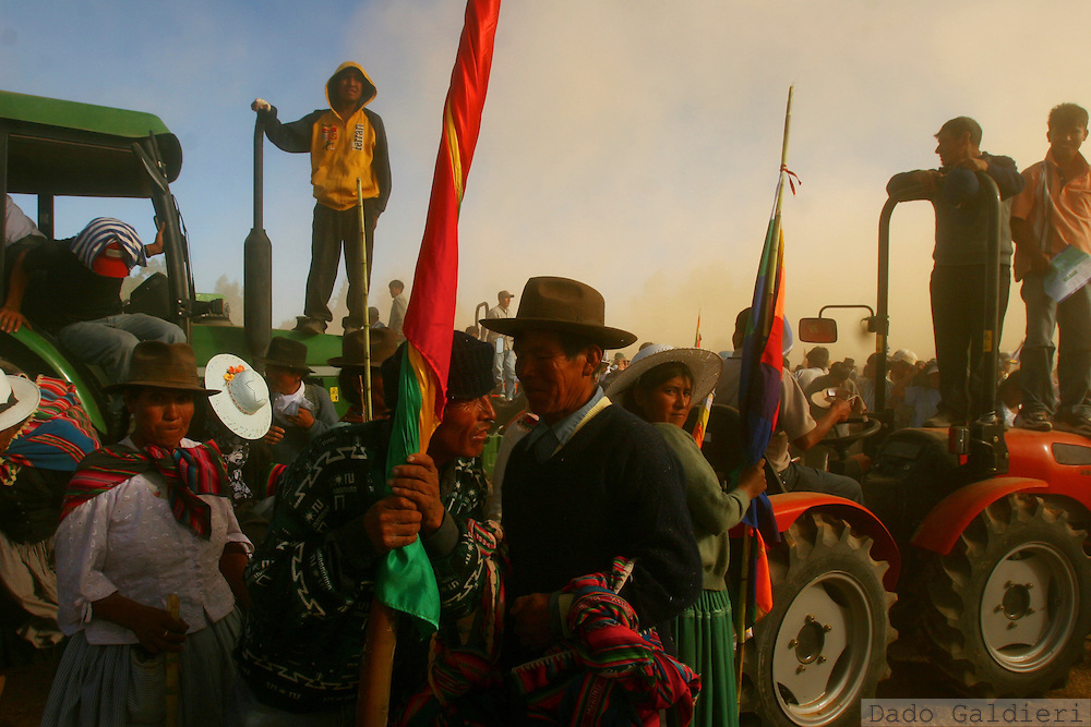 Indigenous farmers receive tractors from president Evo Morales during a ceremony in Ucurena, Cochabamba on August 8, 2006. Bolivian leftist  government  struggles to provide means of production and redistribute land to peasant farmers.(Dado Galdieri)