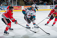 KELOWNA, CANADA - MAY 1: Miles Koules #12 of Portland Winterhawks checks Leon Draisaitl #29 of Kelowna Rockets during overtime of game 5 of the Western Conference Final on May 1, 2015 at Prospera Place in Kelowna, British Columbia, Canada.  (Photo by Marissa Baecker/Getty Images)  *** Local Caption *** Miles Koules; Leon Draisaitl;