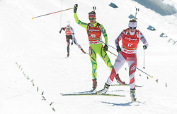 GREGORIN Teja of Slovenia and PALKA Krystyna of Poland in finish area during Women 12.5 km Mass Start competition of the e.on IBU Biathlon World Cup on Sunday, March 9, 2014 in Pokljuka, Slovenia. Photo by Vid Ponikvar / Sportida
