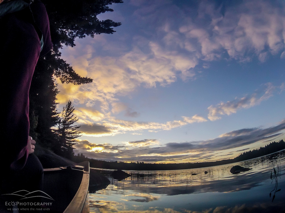 A canoe on Bald Mountain Pond. Bald Mountain Township, Maine.