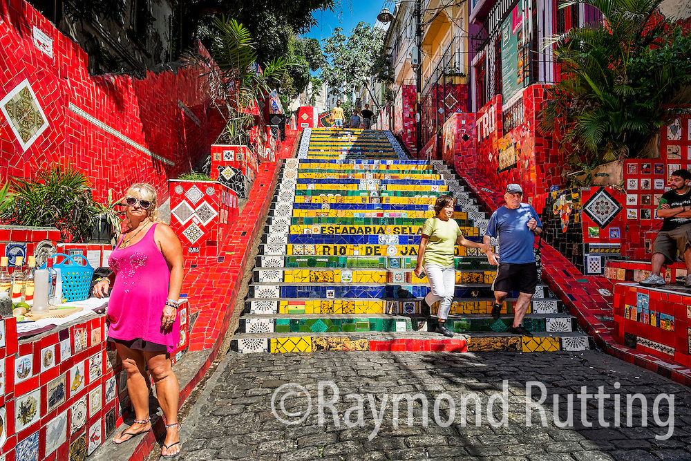 "Brasil- Rio de Janeiro- Escadaria Selarón, also known as the 'Selaron Steps', is a set of world-famous steps in Rio de Janeiro, Brazil. They are the work of Chilean-born artist Jorge Selarón who claimed it as ""my tribute to the Brazilian people. photo raymond rutting"