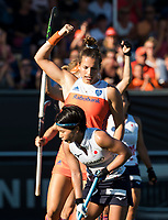 BREDA -  Frederique Matla (Ned) heeft gescoord tijdens  de finale  Nederland-Japan (8-2) van de 4 Nations Trophy dames 2018 . COPYRIGHT KOEN SUYK