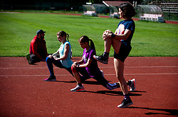 Coach Tevz Korent,  athletes Marusa Mismas Zrimsek, Klara Lukan and Veronika Sadek during practice session after loosening coronavirus COVID-19 restriction, on May 3, 2020 in Stadion Kodeljevo, Ljubljana, Slovenia. Photo by Vid Ponikvar / Sportida