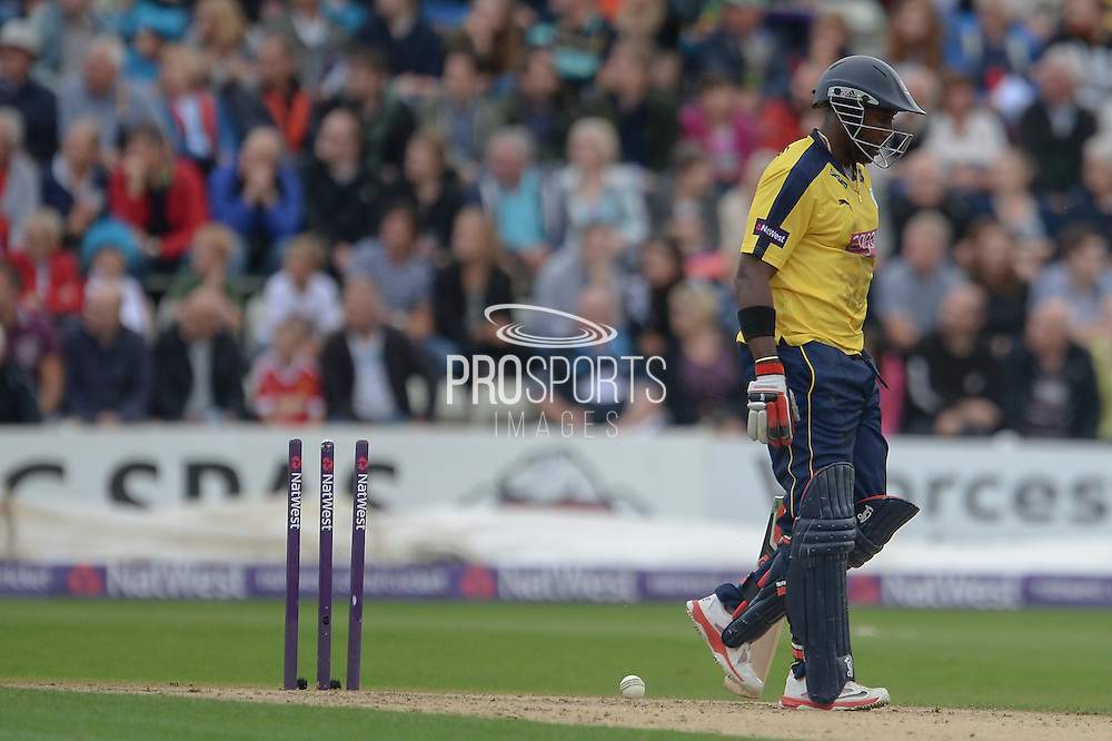 Michael Carberry is Run Out during the NatWest T20 Blast Quarter Final match between Worcestershire County Cricket Club and Hampshire County Cricket Club at New Road, Worcester, United Kingdom on 14 August 2015. Photo by David Vokes.