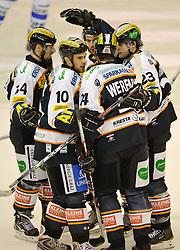 23.11.2010, Eisstadion Liebenau, Graz, AUT, EBEL, Moser Medical Graz 99ers vs KHL Medvescak Zagreb, im Bild Jubel bei den Grazern, Warren Norris, (99ers, Stürmer, #10), Darcy Werenka, (99ers, Verteidiger, #24), Markus Peintner, (99ers, Stürmer, #34), Florian Iberer, (99ers, Verteidiger, #23), Jean-Philippe Pare, (99ers, Stürmer, #32), EXPA Pictures © 2010, PhotoCredit: EXPA/ S. Zangrando
