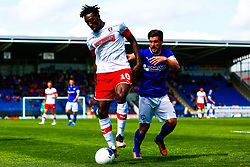 David Buchanan of Chesterfield puts pressure on Freddie Ladapo of Rotherham United - Mandatory by-line: Ryan Crockett/JMP - 20/07/2019 - FOOTBALL - Proact Stadium - Chesterfield, England - Chesterfield v Rotherham United - Pre-season friendly