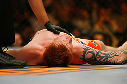 April 19, 2008; Montreal, Quebec, CAN;  Ed Herman (black/orange) and Demian Maia (white trunks) battle during their middleweight bout at the Bell Centre in Montreal, Canda at UFC 83.  Maia won via triangle choke in the second round.