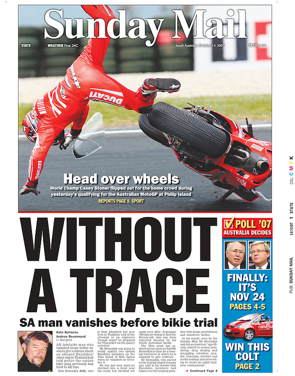 Australian World Champion Casey Stoner takes an unexpected fall around the corner of Siberia during qualifying at the 2007 Australian Moto GP.(Copyright Michael Dodge/ Sunday Mail)