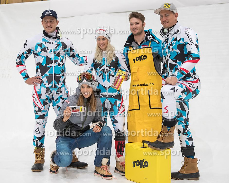 08.10.2016, Olympia Eisstadion, Innsbruck, AUT, OeSV Einkleidung Winterkollektion 2016, im Bild v.l. Matthias Mayer, Julia Dujmovits, Eva-Maria Brem, Servicemann Fa. Toko, Max Franz // f.l. Matthias Mayer Julia Dujmovits Eva-Maria Brem Servicemann Fa. Toko Max Franz during the Outfitting of the Ski Austria Winter Collection at the Olympia Eisstadion in Innsbruck, Austria on 2016/10/08. EXPA Pictures © 2016, PhotoCredit: EXPA/ Johann Groder