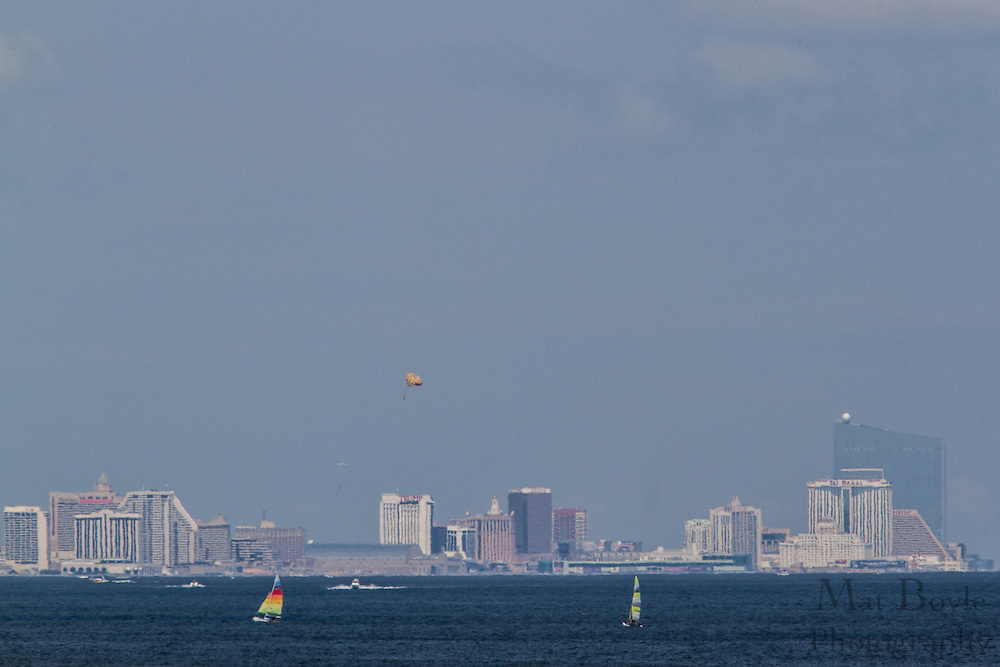 Boats sail in the Atlantic Ocean in front of Atlantic City, NJ on August 18, 2012. (photo / Mat Boyle)