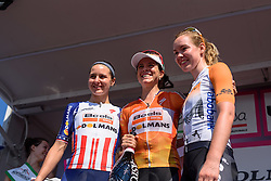 Stage top three: Evelyn Stevens, Megan Guarnier and Anna van der Breggen at Giro Rosa 2016 - Stage 6. A 118.6 km road race from Andora to Alassio, Italy on July 7th 2016.