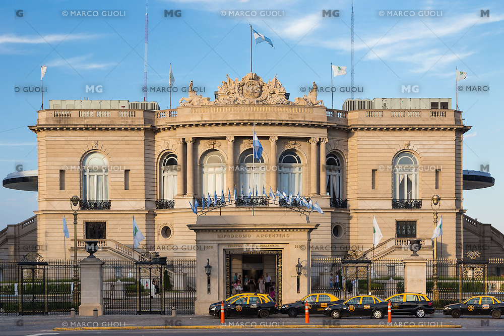 HIPODROMO ARGENTINO DE PALERMO, FACHADA DEL EDIFICIO SOBRE AVENIDA LIBERTADOR, CIUDAD AUTONOMA DE BUENOS AIRES, ARGENTINA (PHOTO BY © MARCO GUOLI - ALL RIGHTS RESERVED. CONTACT THE AUTHOR FOR IMAGE REPRODUCTION)