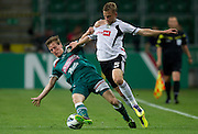 (R) Legia's Janusz Gol fights for the ball with (L) Tadeusz Socha of Slask Wroclaw during soccer Polish Cup Final between Legia Warsaw and Slask Wroclaw at Pepsi Arena in Warsaw, Poland...Poland, Warsaw, May 08, 2013..Picture also available in RAW (NEF) or TIFF format on special request...For editorial use only. Any commercial or promotional use requires permission...Photo by © Adam Nurkiewicz / Mediasport