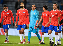L to R: Costa Rica's Johnny Acosta, Celso Borges, Keilor Navas, Yeltsin Tejeda, and Francisco Calvo after the international friendly match at Hampden Park, Glasgow. RESTRICTIONS: Use subject to restrictions. Editorial use only. Commercial use only with prior written consent of the Scottish FA.