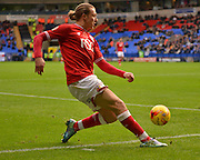Bristol city Midfielder, Luke Freeman keeps the ball in and manages a cross into the bolton box during the Sky Bet Championship match between Bolton Wanderers and Bristol City at the Macron Stadium, Bolton, England on 7 November 2015. Photo by Mark Pollitt.