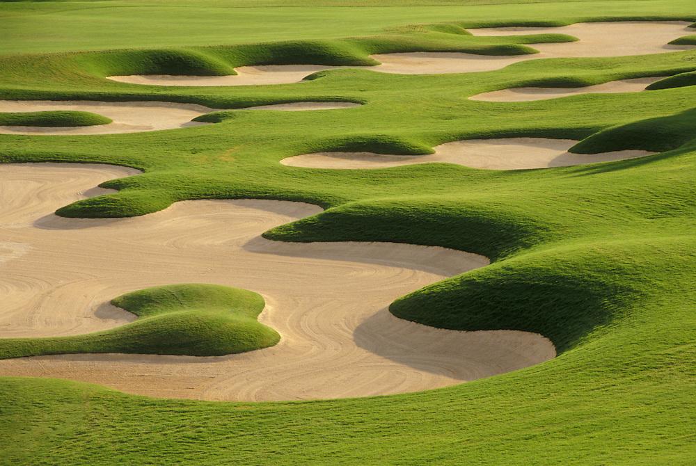 Golf Course sand traps at 18th hole; Four Seasons Hualalai Resort, Kona-Kohala Coast, Island of Hawaii.