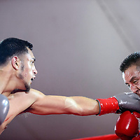 080115       Cable Hoover<br /> <br /> Jose Osorio, left, connects a jab with the face of Guillermo Alvarez during Fire and Ice Fury boxing in Grants Saturday.