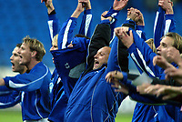 Fotball, 15. oktober 2003, UEFA - cupen, 1 runde, Molde Stadion, Molde-Leiria,  Trener Odd Berg, Molde, jubler