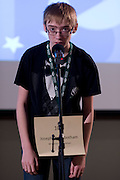 Joseph Higgenbotham of Mt Vernon Middle School introduces himself during the Southeastern Ohio Regional Spelling Bee Regional Saturday, March 16, 2013. The Regional Spelling Bee was sponsored by Ohio University's Scripps College of Communication and held in Margaret M. Walter Hall on OU's main campus.