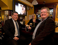 Pictured enjoying a premiere of the new Guinness advertisement, This is Rugby Country, which aired at an special viewing at E Brun, Dominick St, Galway, are Jim McSpadden, Diageo and Siobhan Conneely and Tom McDonagh Proprietor . Guinness enjoys a long standing relationship with Irish rugby and has been a partner of the IRFU for over 20 years. The new advertisement features real people - not actors or models - and this is one of the key ingredients to the campaign.. Photo:Andrew Downes.