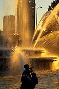Image of the J.C. Nichols Memorial Fountain at sunset in Kansas City, Missouri, American Midwest