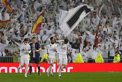 Real Madrid CF's Karim Benzema celebrates after scoring a goal during UEFA Champions League match, groups between Real Madrid and Paris Saint Germain at Santiago Bernabeu Stadium in Madrid, Spain. November, Tuesday 26, 2019. Photo by Manu R.B./AlterPhotos/ABACAPRESS.COM